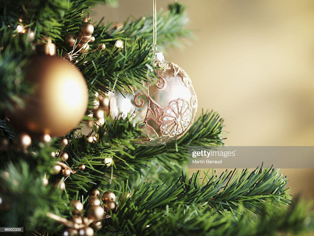 Close up of Christmas ornaments on tree : Stock Photo