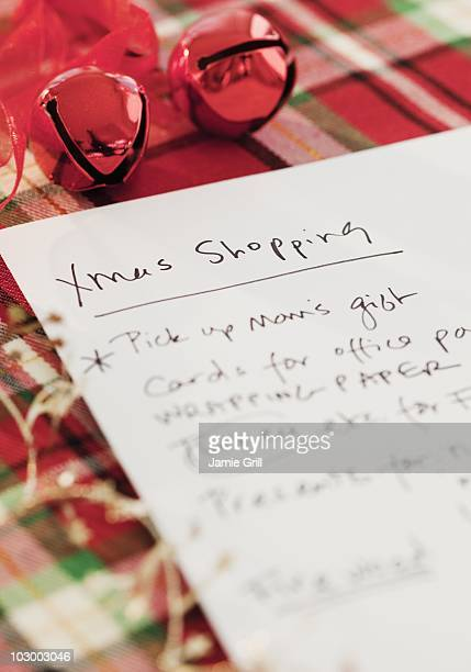 Close up of Christmas shopping list