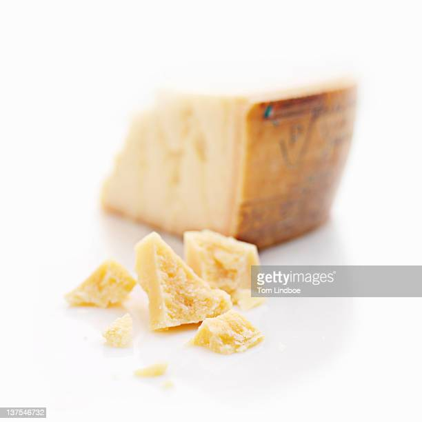 Close up of chunks of cheese