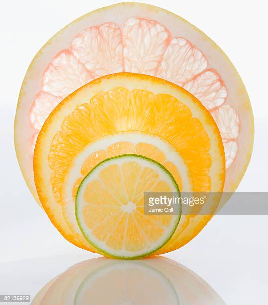 Close up of citrus fruit slices