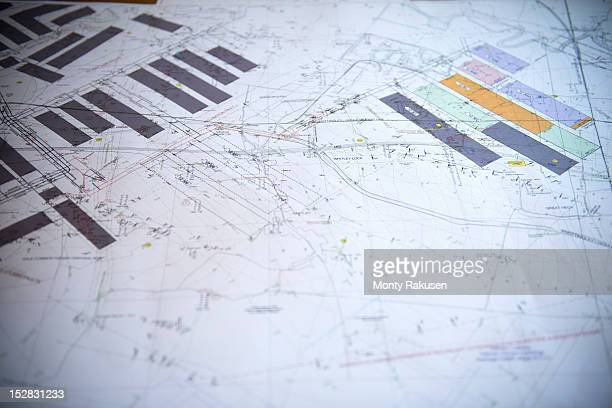 Close up of coal mine plans