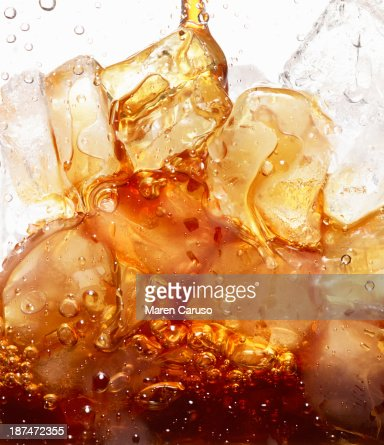 Close Up of Coffee Pour Over Ice Cubes