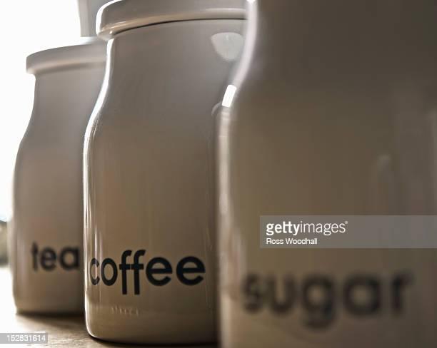 Close up of coffee, tea and sugar jars