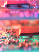 Close up of colorful circuit board