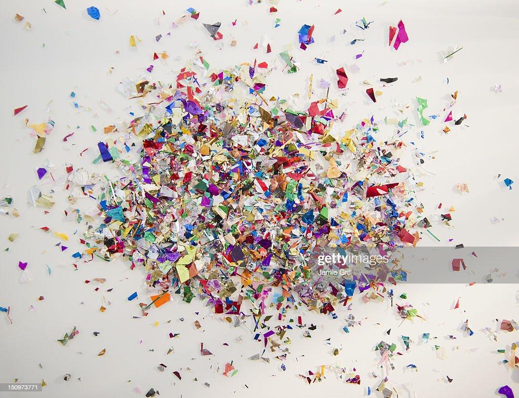 Close up of colorful confetti