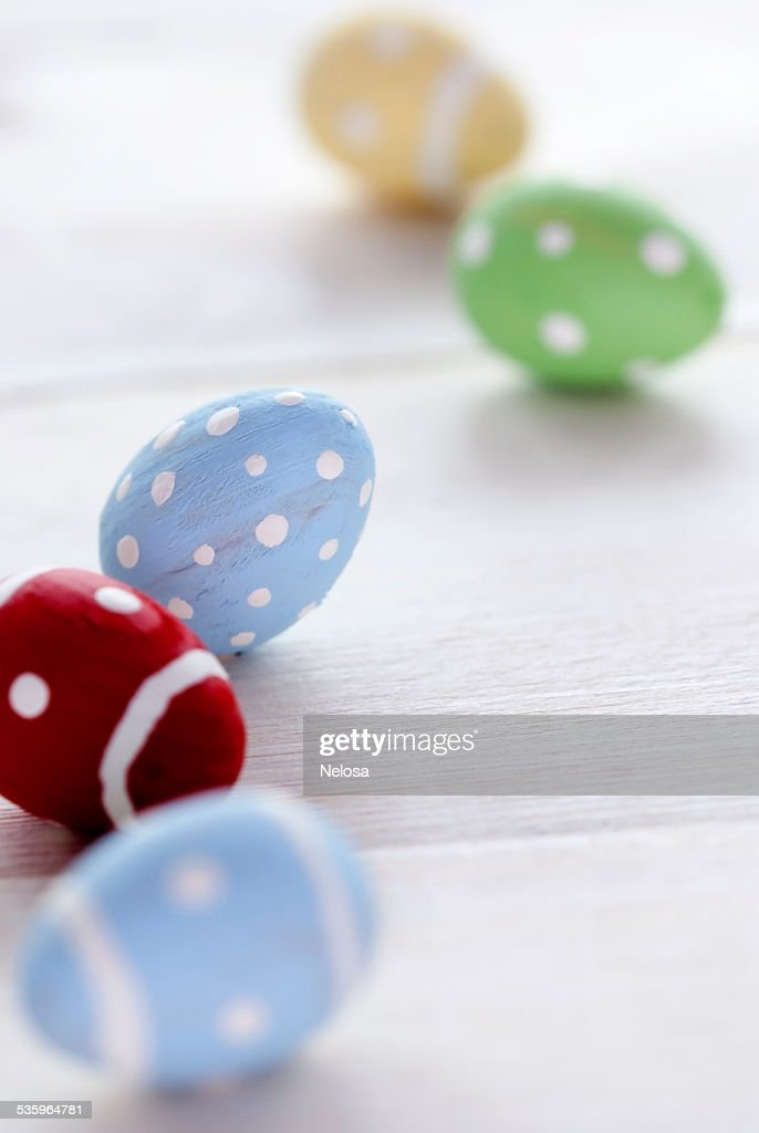 Close Up Of Colorful Easter Eggs With Ccopy Space : Stock Photo
