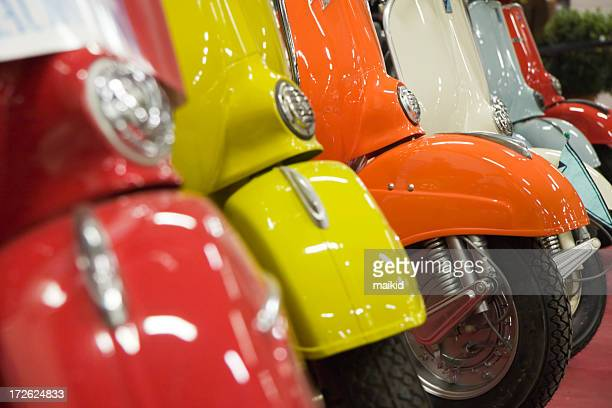 Close up of colorful vintage Italian motor scooters