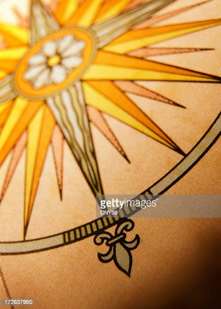 Close Up Of Compass Rose On Globe