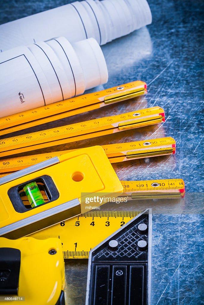 Primer plano de construcción de programas y herramientas de medición : Foto de stock