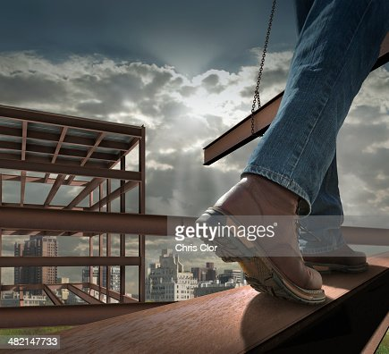 Close up of construction worker on infrastructure