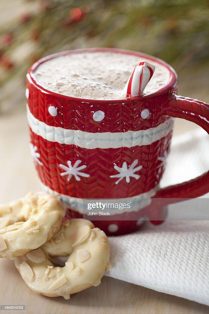 Close up of cookies and mug of hot chocolate