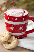 Close up of cookies and mug of hot chocolate