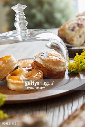 Close up of cookies under glass lid : Stock Photo
