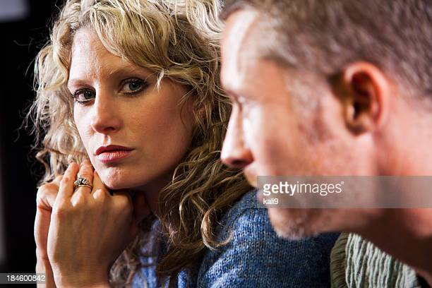 Close up of couple, focus on woman