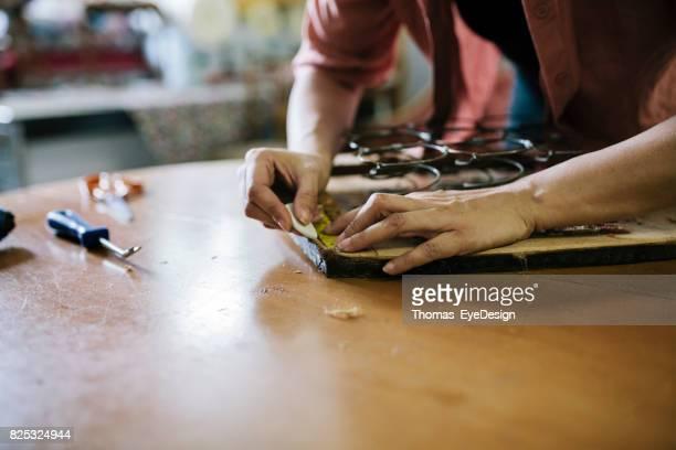 Close Up van Craftswoman meten stoel voor Reupholstering