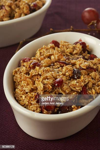 Close up of Cranberry and Raisin Crumble