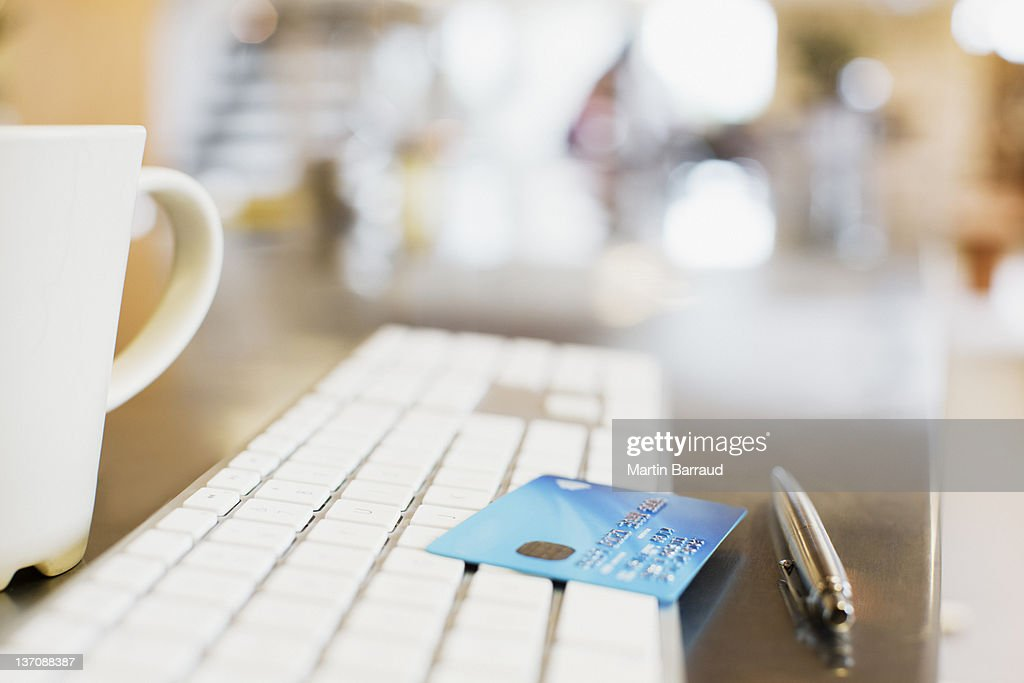 Close up of credit card on keyboard : Stock Photo