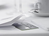 Close up of credit card on restaurant table