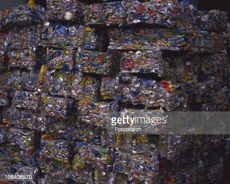Close up of crushed aluminum cans for recycling, high angle view, Full Frame : Stock Photo