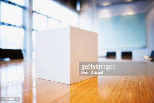 Close up of cube on conference room table
