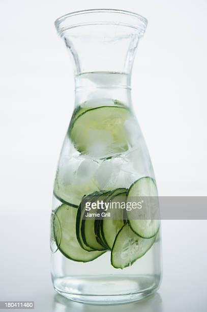 Close up of cucumber drink, studio shot