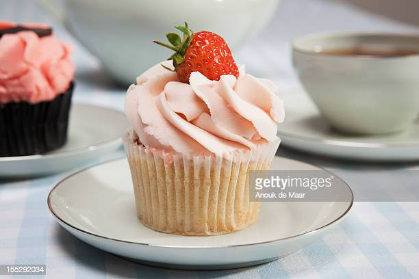Close up of cupcake with strawberry