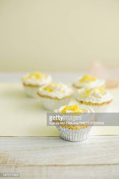 Close up of cupcakes with frosting
