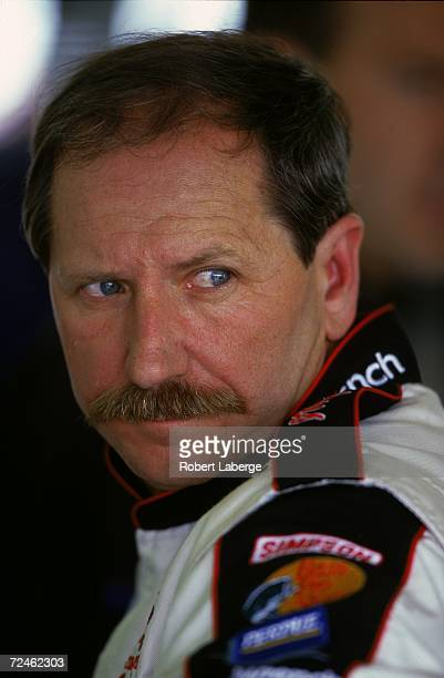 A close up of Dale Earnhardt Sr as he looks on during the Cardirectcom 400 on March 5 2000 at the Las Vegas Speedway in Las Vegas Nevada