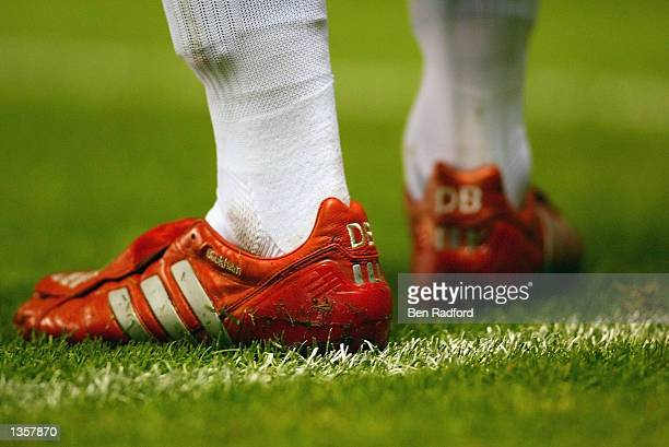 A close up of David Beckham's boots during the UEFA Champions League Qualifier Second Leg match between Manchester United and Zalaegerszeg held at...