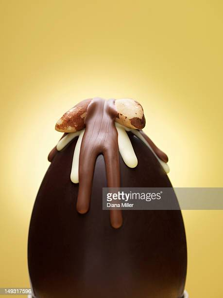 Close up of decorated chocolate egg