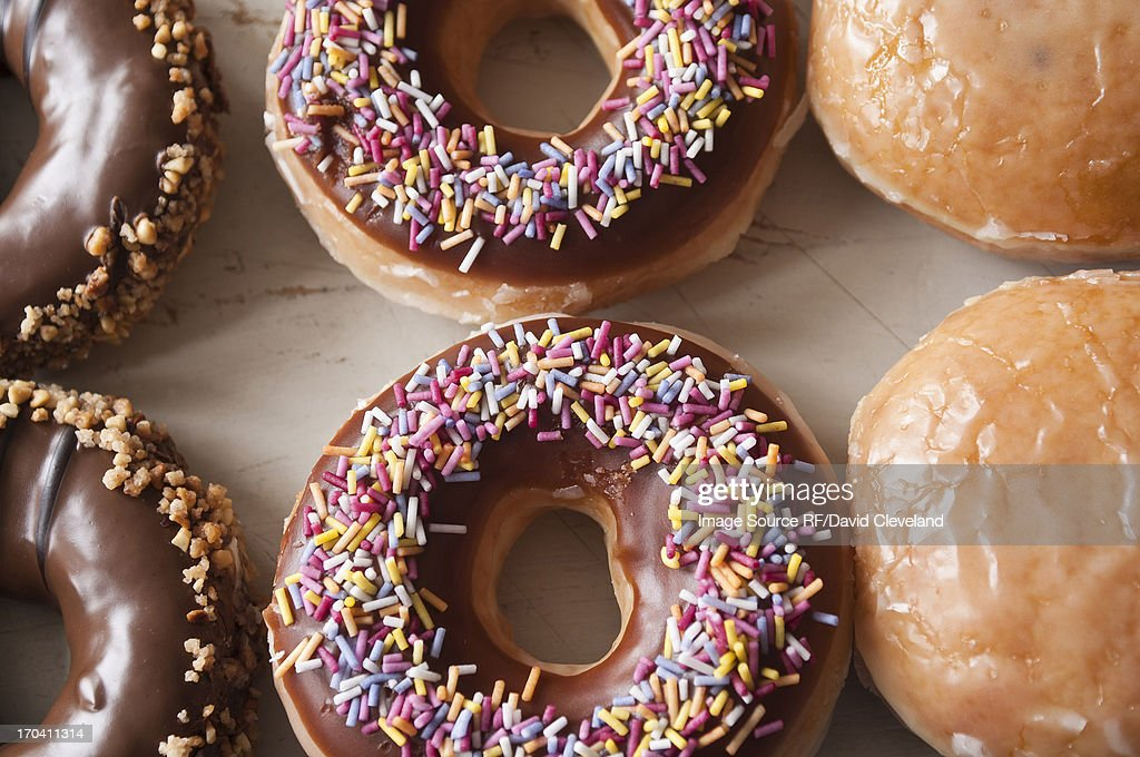 Close up of decorated doughnuts