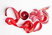 Close up of decorative red ribbons