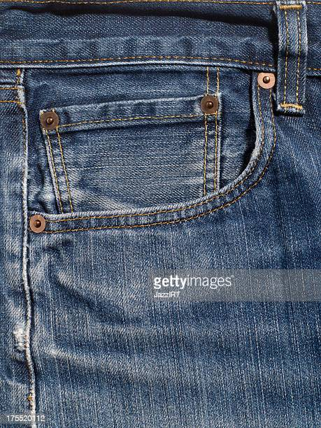 Close Up of Denim Jean Pocket.