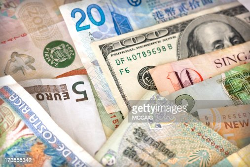 Close up of different kinds of foreign currency