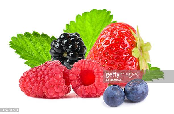 Close up of different mixed berry fruits