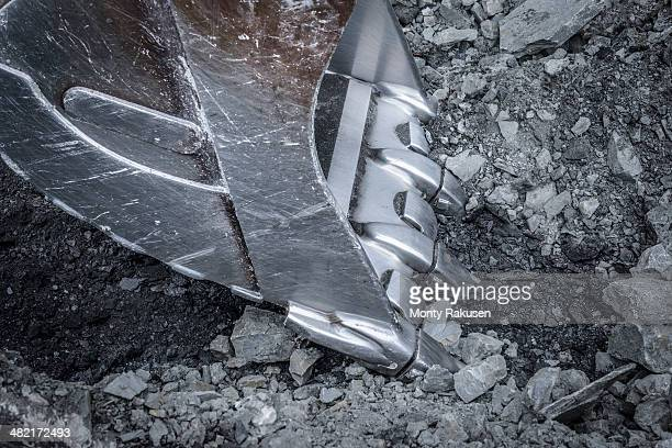 Close up of digger bucket in surface coal mine