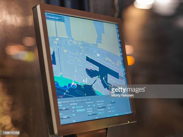 Close up of digital chart on tug at night
