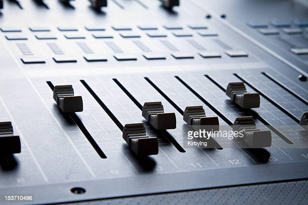 Close up of Digital sound mixing console