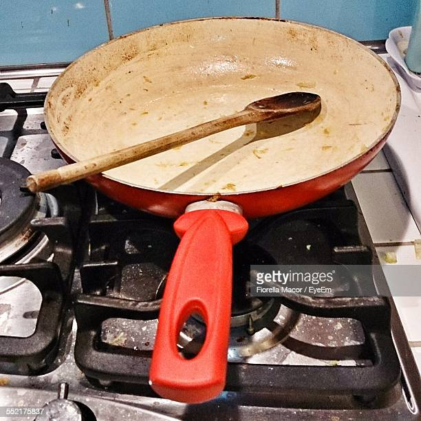 Close Up Of Dirty Frying Pan On Stove