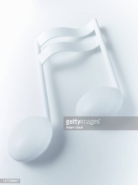 Close up of double semiquaver musical note on white background