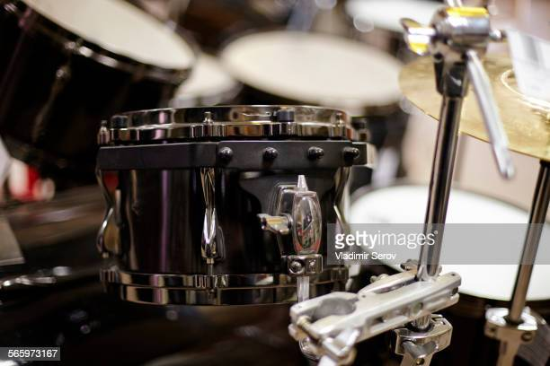 Close up of drum snares and cymbals