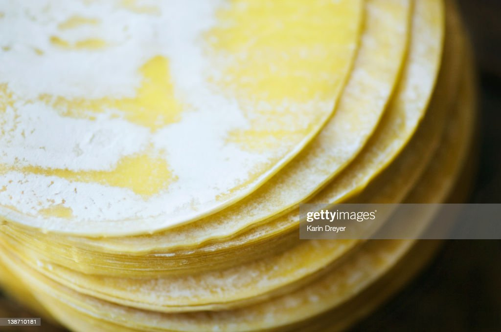 Close up of dumpling wrappers in a stack : Stock Photo