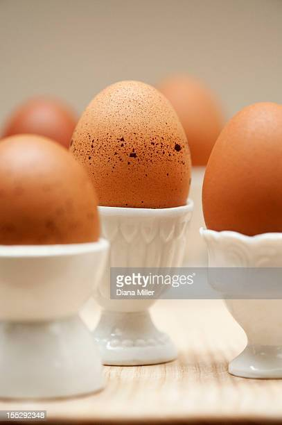 Close up of eggs in egg cups