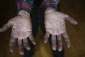 Close up of elderly man's hands