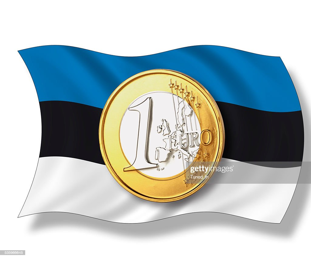 Close up of euro coin on estonian flag : Stock Photo