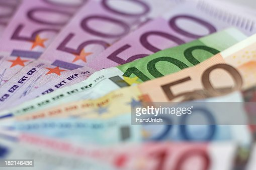 Close up of Euro currency notes