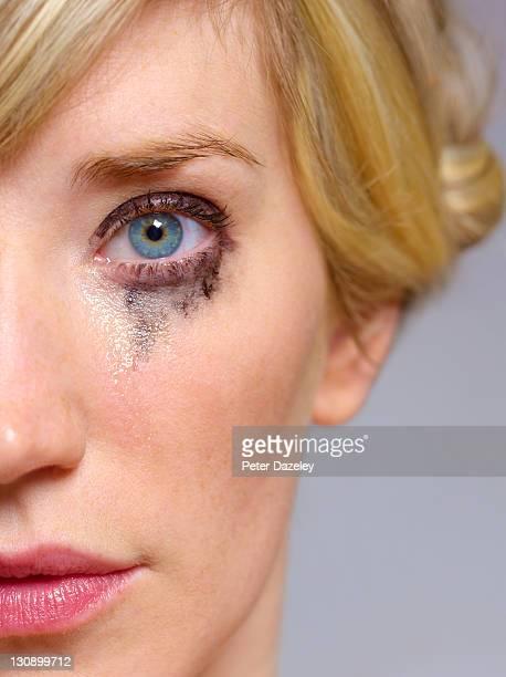 Close up of eye crying