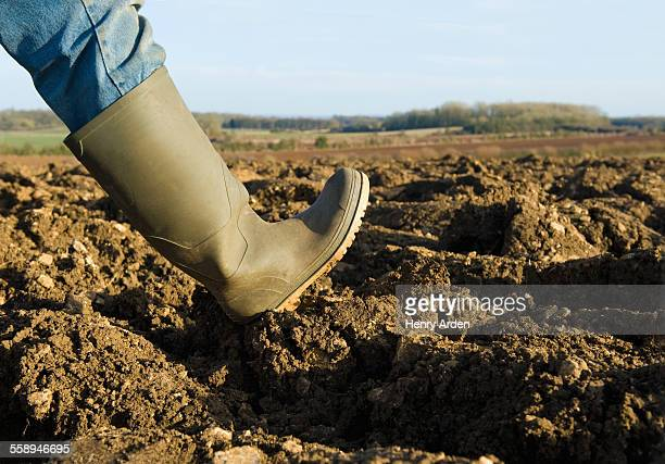 Close up of farmers rubber boot walking on ploughed field