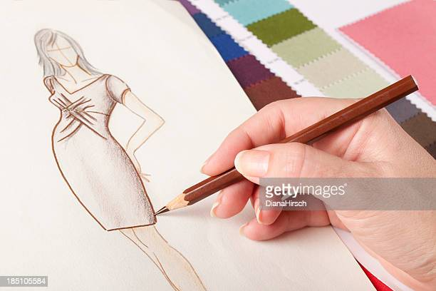 close up of  fashion design drawing