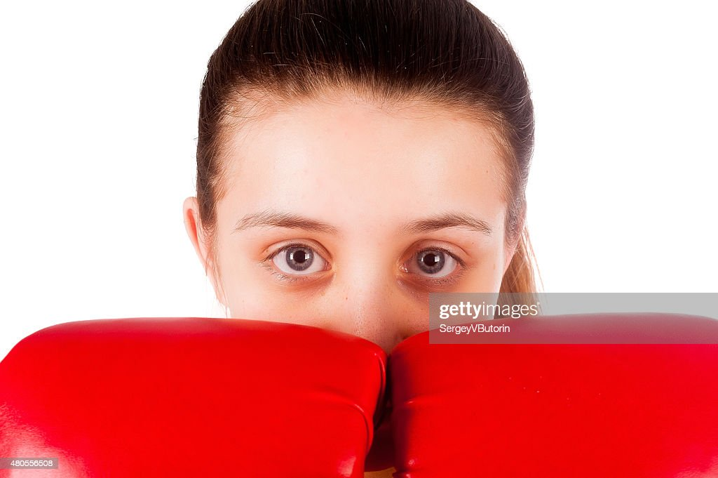close up of female boxer : Stock Photo